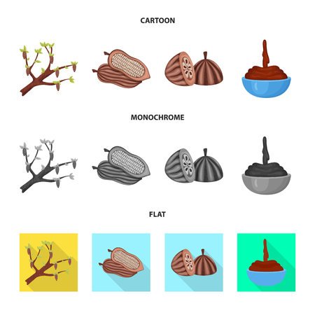 Vector illustration of food and yummy sign. Set of food and brown   stock symbol for web. Illustration