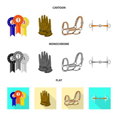 Vector design of equipment and riding icon. Set of equipment and competition vector icon for stock. Illusztráció