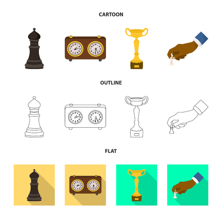 Vector illustration of checkmate and thin logo. Set of checkmate and target vector icon for stock. Illustration