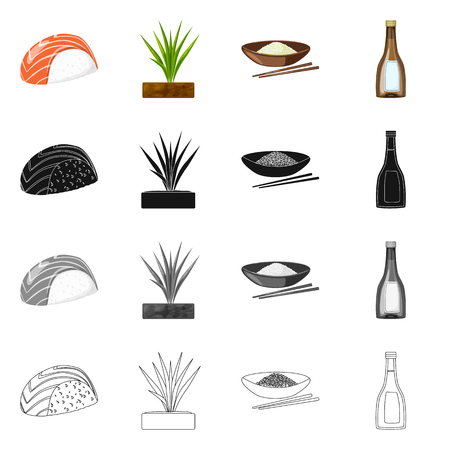 Isolated object of crop and ecological sign. Set of crop and cooking vector icon for stock.
