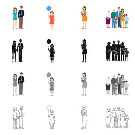 Vector illustration of character and avatar  icon. Set of character and portrait stock vector illustration.
