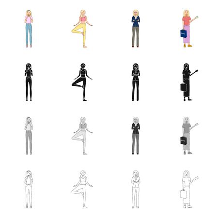 Isolated object of posture and mood sign. Collection of posture and female vector icon for stock.