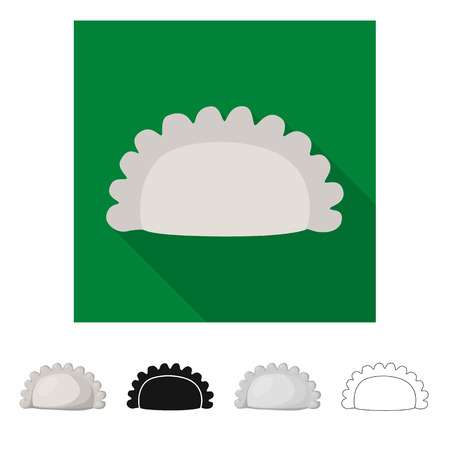 Vector illustration of pierogi and Russian sign. Set of pierogi and breakfast  vector icon for stock. Illustration