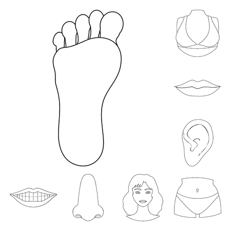 Vector design of body and part sign. Set of body and anatomy stock vector illustration.