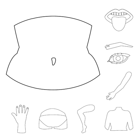 Vector illustration of body and part icon. Set of body and anatomy vector icon for stock.