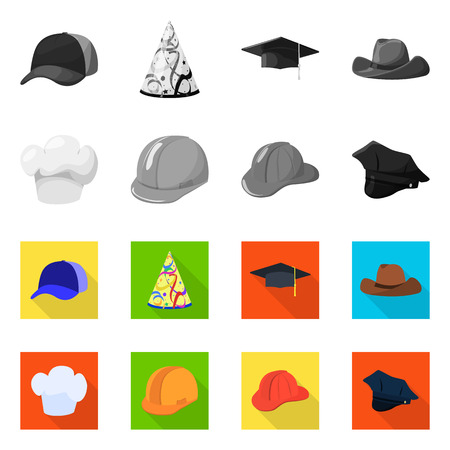 Vector illustration of clothing and cap logo. Collection of clothing and beret vector icon for stock. Illustration