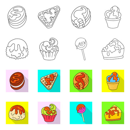 Isolated object of confectionery and culinary symbol. Collection of confectionery and product stock vector illustration. Иллюстрация