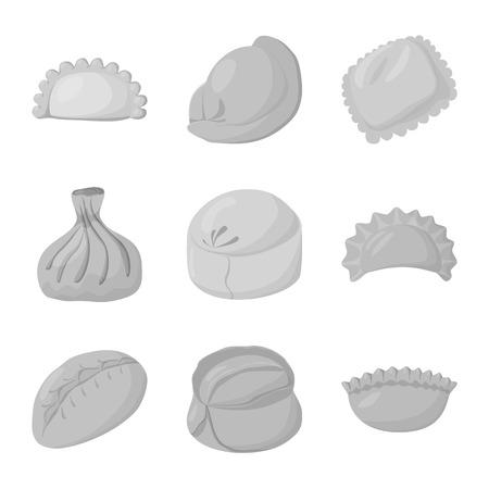 Vector illustration of dumplings and stuffed logo. Collection of dumplings and dish stock vector illustration. Ilustração
