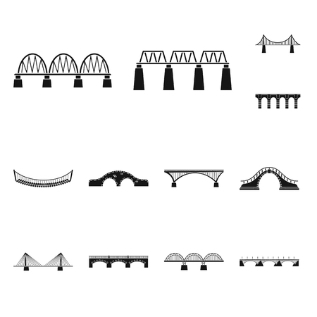 Vector illustration of construct and side icon. Set of construct and bridge stock vector illustration.