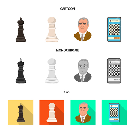 Vector illustration of checkmate and thin symbol. Collection of checkmate and target stock symbol for web.