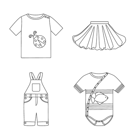 Isolated  of children clothes on white  イラスト・ベクター素材