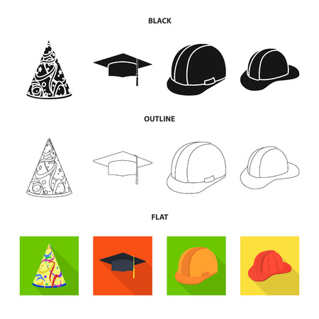 Vector design of clothing and cap sign. Collection of clothing and beret stock symbol for web.