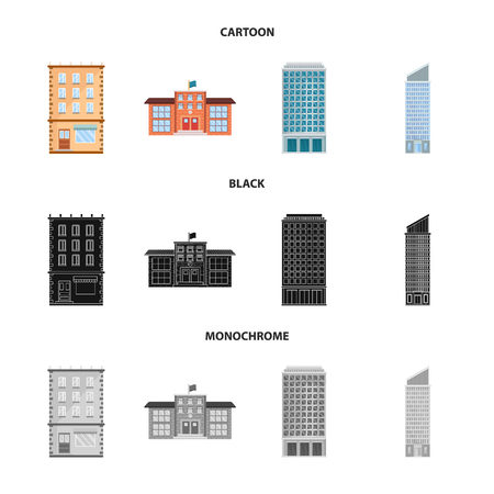 Vector design of municipal and center sign. Set of municipal and estate stock vector illustration. Ilustración de vector