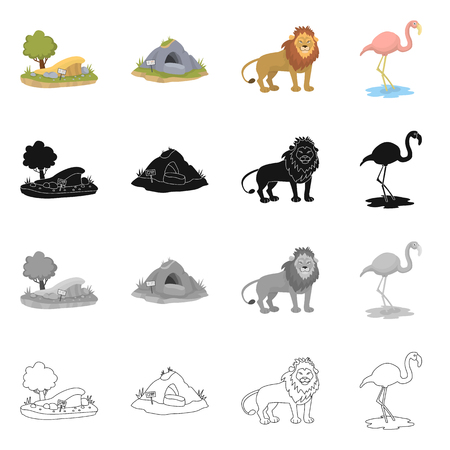 Vector illustration of nature  and fun. Set of nature  and entertainment vector icon for stock.  イラスト・ベクター素材