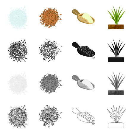 Isolated object of crop and ecological sign. Collection of crop and cooking stock vector illustration.