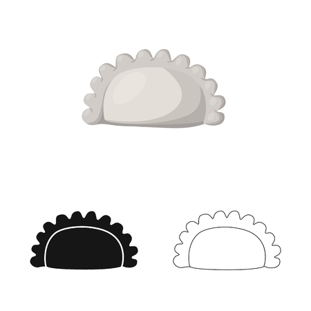 Vector design of pierogi and Russian. Collection of pierogi and breakfast  stock symbol for web.