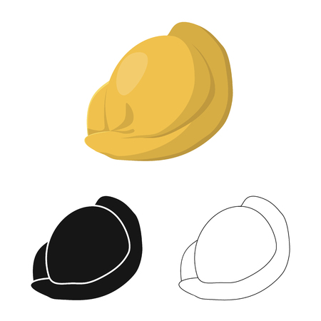 Isolated object of ravioli  and pierogi icon. Collection of ravioli  and pelmeni  stock vector illustration.