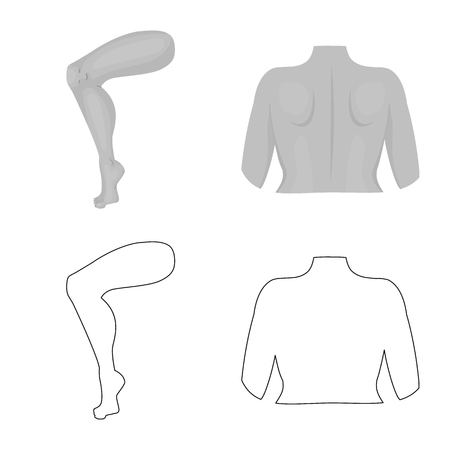 Vector design of body and part logo. Set of body and anatomy stock vector illustration.