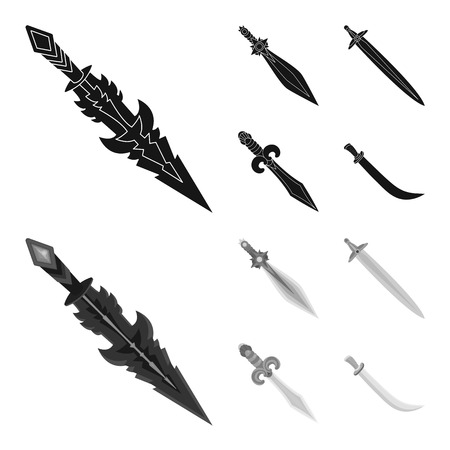 Vector illustration of game and armor symbol. Set of game and blade stock symbol for web.