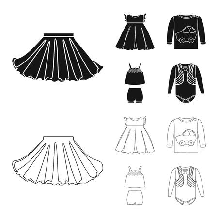 Vector illustration of fashion and garment symbol. Set of fashion and cotton vector icon for stock. Illustration