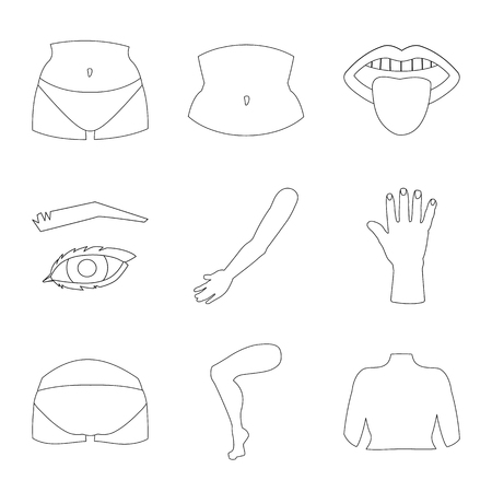 Vector illustration of body and part logo. Set of body and anatomy vector icon for stock. Illustration