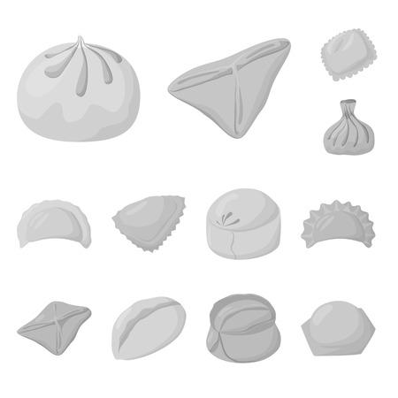 Vector design of dumplings and stuffed symbol. Collection of dumplings and dish stock symbol for web. Ilustração