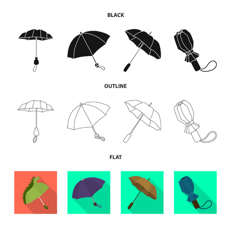 Vector design of protection and closed icon. Set of protection and rainy vector icon for stock.