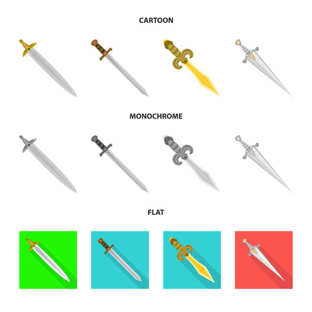 Isolated object of game and armor symbol. Set of game and blade vector icon for stock.