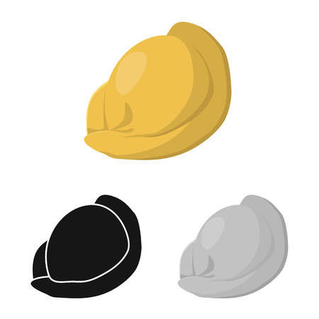 Vector design of ravioli  and pierogi symbol. Collection of ravioli  and pelmeni  stock symbol for web.