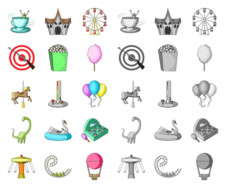 Amusement park cartoon,mono icons in set collection for design. Equipment and attractions vector symbol stock web illustration.