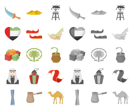 Country United Arab Emirates cartoon,mono icons in set collection for design. Tourism and attraction vector symbol stock web illustration. Illustration