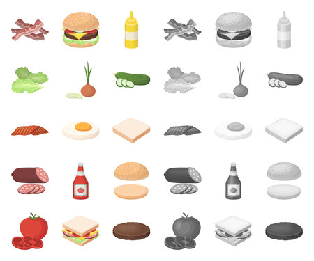 Burger and ingredients cartoon,mono icons in set collection for design. Burger cooking vector symbol stock web illustration. Vettoriali