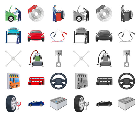 Car, lift, pump and other equipment cartoon,mono icons in set collection for design. Car maintenance station vector symbol stock illustration web.