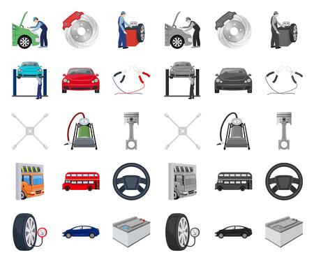 Coche, ascensor, bomba y otros equipos de dibujos animados, mono iconos de colección set de diseño. Web del ejemplo de la acción del símbolo del vector de la estación de mantenimiento del coche. Ilustración de vector