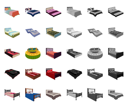 Different beds cartoon,mono icons in set collection for design. Furniture for sleeping vector isometric symbol stock web illustration. Illustration
