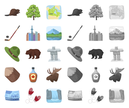 Country Canada cartoon,mono icons in set collection for design. Canada and landmark vector symbol stock web illustration. Ilustracja