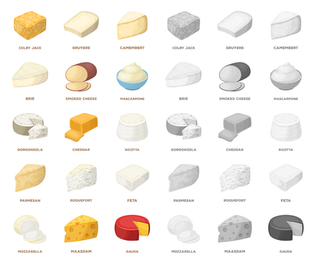 Different kind of cheese cartoon,mono icons in set collection for design.Milk product cheese vector symbol stock web illustration. Ilustração