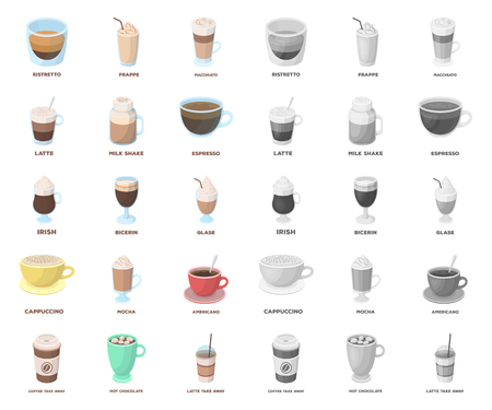 Different kinds of coffee cartoon,mono icons in set collection for design. Coffee drink vector symbol stock web illustration.