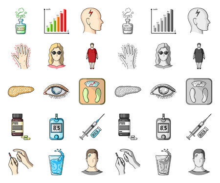 Diabetes cartoon,mono icons in set collection for design. Treatment of diabetes vector symbol stock web illustration.