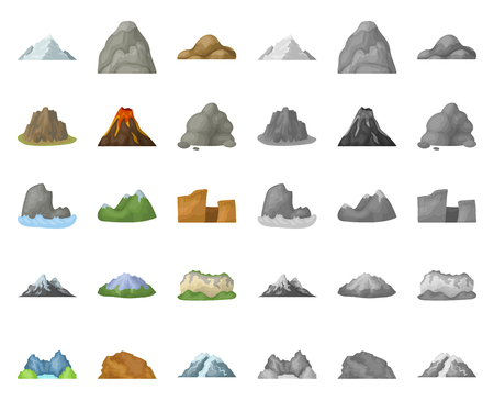 Different mountains cartoon,mono icons in set collection for design.Mountains and landscape vector symbol stock web illustration.