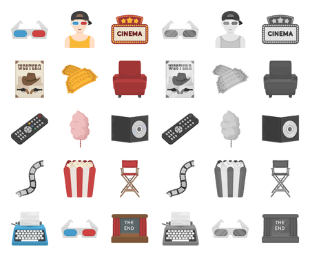 Films and cinema cartoon,mono icons in set collection for design.Movies and Attributes vector symbol stock web illustration.