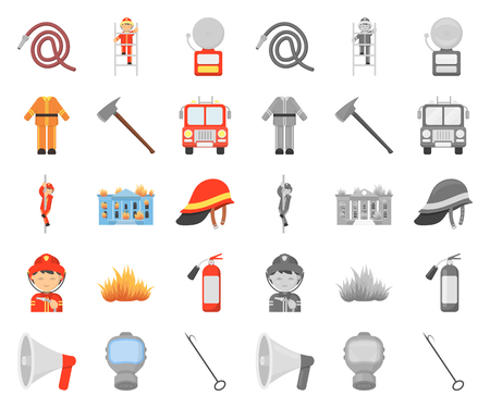Fire Department cartoon,mono icons in set collection for design. Firefighters and equipment vector symbol stock web illustration. Иллюстрация