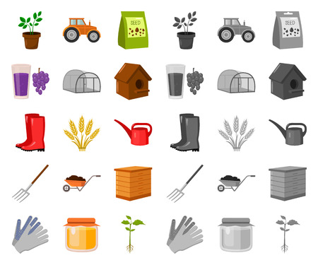 Farm and gardening cartoon,mono icons in set collection for design. Farm and equipment vector symbol stock web illustration.