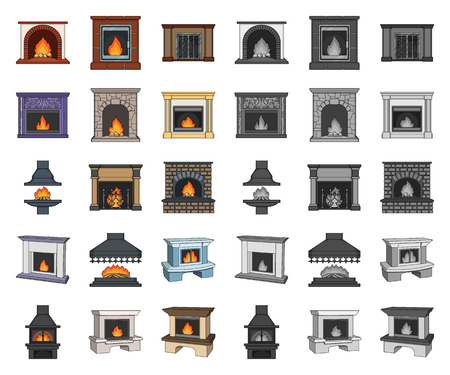 Different kinds of fireplaces cartoon,mono icons in set collection for design.Fireplaces construction vector symbol stock  illustration.