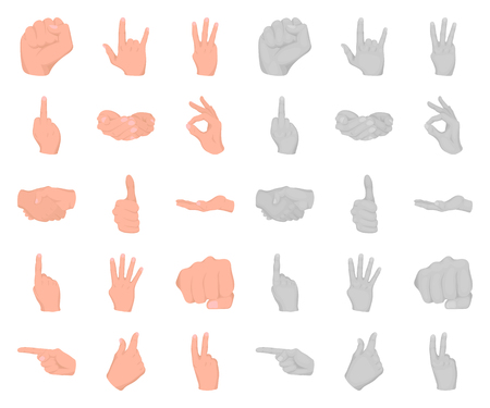 Hand gesture cartoon,mono icons in set collection for design. Palm and finger vector symbol stock web illustration.