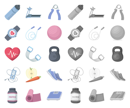 Gym and training cartoon,mono icons in set collection for design. Gym and equipment vector symbol stock web illustration.