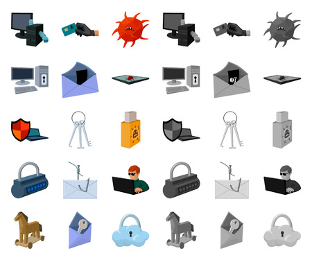Hacker and hacking cartoon,mono icons in set collection for design. Hacker and equipment vector symbol stock web illustration. Ilustração