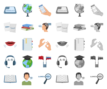 Translator and linguist cartoon,mono icons in set collection for design. Interpreter vector symbol stock  illustration.