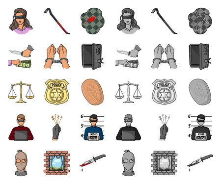 Crime and Punishment cartoon,mono icons in set collection for design.Criminal vector symbol stock  illustration.
