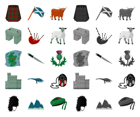 Country Scotland cartoon,mono icons in set collection for design. Sightseeing, culture and tradition vector symbol stock web illustration. Illusztráció